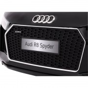 Masinuta electrica cu roti din cauciuc si scaun de piele Audi R8 Spyder Black
