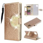 iPhone 11 Pro Max Glitter Portemonnee Hoes met Spiegel - Goud