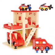 Toyshine Wooden Fire Station Doll House Toy with 3 Dolls - Set of 10 Furniture Items