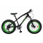 Bicicleta Fat Bike VELORS V2000A Cadru otel Culoare negru-verde Varsta 7-10 ani
