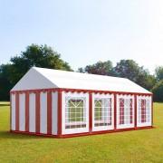 Intent24.fr Tente de réception 4x8m PVC 500 g/m² rouge imperméable barnum, chapiteau