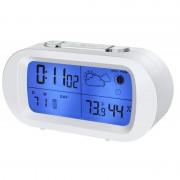 Ceas LCD cu statie meteo Bresser, Alb