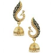 Jewels Gold Alloy Party Wear Wedding Stylish Latest Peacock Jhumki Earring Set For Women Girls