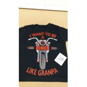 O - I want to Be A Biker Like Granpa motorcycle toddler baby childrens kids hoodie 100% cotton