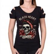 tee-shirt street pour femmes - JENY DESTROY - BLACK HEART - 010-0187-BLK