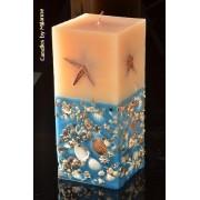 Designkaarsen com Zeekaars, super XXXL, H: 26 cm BLAUW-WIT rechthoek - kaarsen