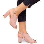 Sandale dama Karee cu toc gros, Roz 38