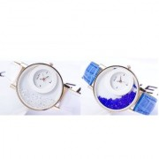 Round Dial Blue White Leather Strap Analog Watch For Women(Pack of 2)