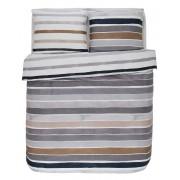 Esprit Bavlněná sada povlečení na dvojlůžko, sada okrasného povlečení, 100% bavlněné plátno - šedo-béžová barva, pásy, barevné povleceni, Esprit, 200 x 220…