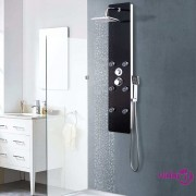 vidaXL Panel za tuširanje od stakla 25 x 44,6 x 130 cm crni