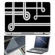 FineArts Laptop Skin White Lines With Screen Guard and Key Protector - Size 15.6 inch
