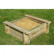 2m x 1.5m Wooden Sand Pit 44mm - 429mm Depth with Play Sand and Wooden Lid