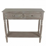 Decor Therapy Natural Wood 2-Drawer Console, Gray