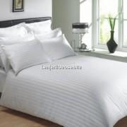 Lenjerie de pat dublu damasc culoarea alba - dunga de 1 cm