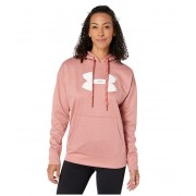 Under Armour Synthetic Fleece Chenille Logo Pullover Hoodie Fractal Pink Light HeatherOnyx White