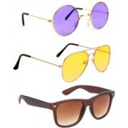 Elligator Round, Aviator, Wayfarer Sunglasses(Violet, Yellow, Brown)