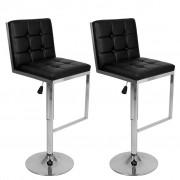 vidaXL Justerbar barstol med snurr och högt ryggstöd i svart konstläder, 2 st