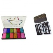 12 Shades Glitter+ Manicure Pedicure Kit 6 Pcs Tool Kit