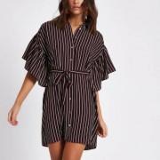 River Island Womens Dark Red stripe cold shoulder shirt dress