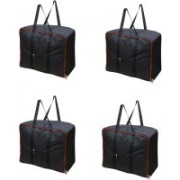 Bright Garment Bag Moistureproof Foldable Garment Cover Storage Bags for Blanket, Sarees,Toys,Clothes with Zippered Closure and Handle Garment Cover Storeg Beg - Black Garment Cover, Sarre Cover, Blenket Cover (Black) (Pack Of 4) Garment Bag, Storage Bag,
