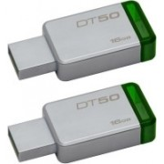 Kingston DT50 DataTraveler 50 - Combo of Two 16GB Pendrive - USB 3.1/3.0/2.0 16 GB Pen Drive(Silver)