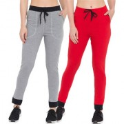 Cliths Women's Black Grey Red Black Pack of 2 Cotton Solid Trackpants  Gym Wear For Women/Girls