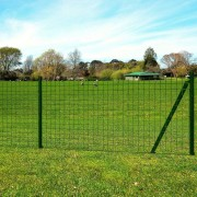 vidaXL Set Euro ograda s podzemnim šiljcima 25x1 m čelik zelena