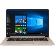 "Laptop ASUS VivoBook S510UA-BQ287 (Procesor Intel® Core™ i5-7200U (3MB Cache, up to 3.10 GHz), Kaby Lake, 15.6"" FHD, 4GB, 1TB HDD, Intel® HD Graphics 620, Tastatura iluminata, Wireless AC, Endless OS, Auriu Metalic) + Geanta Laptop Dicallo LLM0314 15.6"" ("