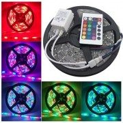Multi-functions colour changing led strip light smd rgb colour changing with led driver and remote - 5 meters (Water Proof)