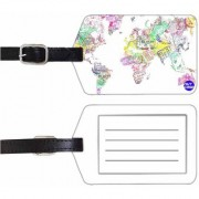Nutcase Designer Luggage Travel Baggage SET OF 2 PU Leather Tags - WATERCOLOR MAP