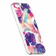 Husa Silicon Transparent Slim Flori Tropicale Apple iPhone 5 5S SE