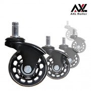 AXL Office Chair Caster Wheels Replacement Heavy Duty with Rollerblade Style (Soft Rubber) - Safe for Hardwood Floors, Carpet, Desk Floor Mat - 2.5 Inch Black/Clear Wheel, Universal Fit