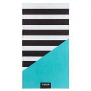 Bubel Bade-/Strandtücher Streifenmuster, Schwarz/Weiss/Türkis, knitter- und bügelfrei, Nanotech-Gewebe, 175 x 98 cm, Waschmaschinentauglich