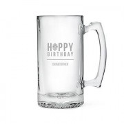 Confetti Etched Glass 25 Oz Beer Mug - Happy Birthday - Beer Hops
