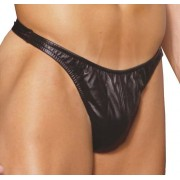 Elegant Moments L9141X Leather Thong Underwear Black
