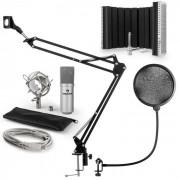 Auna MIC-900S Juego de micrófono V5 USB Micrófono de condensador Protector antipop Pantalla Brazo para micrófono plateado (60001967-V5)