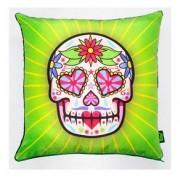 Almofada Caveira Dia dos Mortos Mexicano Verde