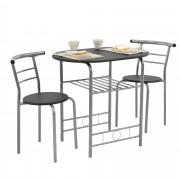 [en.casa]® Konyha asztal két székkel étkező garnitúra polccal 80 x 53 cm fekete/ezüst vas MDF bisztró szett