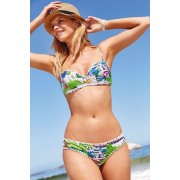Womens Next Printed Bandeau Bikini Top - Blue/Green