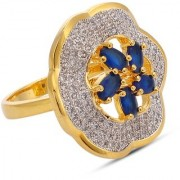Tistabene Retails Designer Floral Blue Stones Two Tone Plated Party Wear Cocktail Ring For Women and Girls (RI-0653)