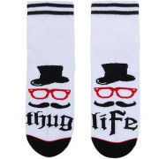 Soxytoes Thug Life White Cotton Ankle Length Pack of 1 Pair Unisex Casual Socks (STS0098)