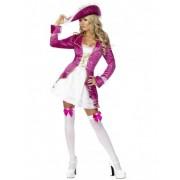 Vegaoo Barockes Piratenkostüm für Damen aus Samt pink-weiß