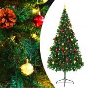 vidaXL Изкуствена елха, украсена с играчки и LED лампи, 210 см, зелена
