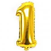 1. szám, fólia lufi, 36 cm, arany