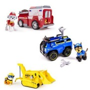 Paw Patrol Chase's Spy Cruiser, Marshall's Ambulance, & Super Pup Rubble's Crane - Vehicle and Figure Combo Set (all three work with Paw Patroller)