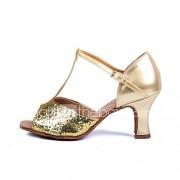 Aanpasbaar - Voor dames - Dance Schoenen (Zilver/Goud) - met Aangepaste hak - en Latijn/Salsa