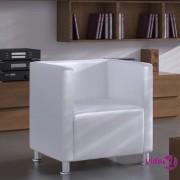 vidaXL Kockasta fotelja od umjetne kože bijela