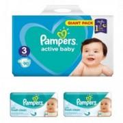 Scutece PAMPERS nr.3 pentru copii 6-10 kg GIANT PACK 90 buc + 2 pachete de servetele umede Pampers Baby 64 buc