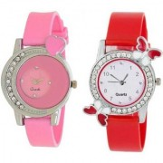 New Arrival Stylish Diamond Studded Pink Red ButterFly Watch For Women Girl Watch - For Girls