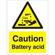 Unbranded Warning Sign Battery Acid Plastic 20 x 15 cm